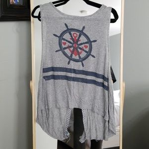 Grey, navy and red anchor tank top